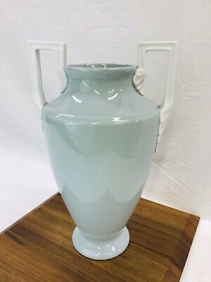 Vtg Neoclassical Art Deco Porcelain Pottery Vase Urn Greek Blue Green White 14''