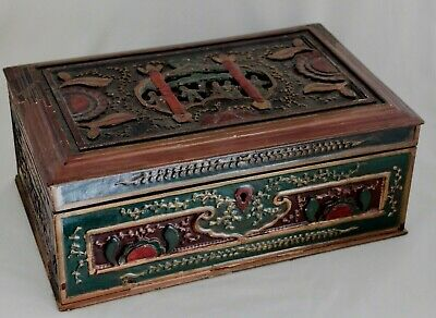 Antique Chinese Gilt Lacquer Hand Carved Wooden Box w/ Children Flowers 12x8x5""