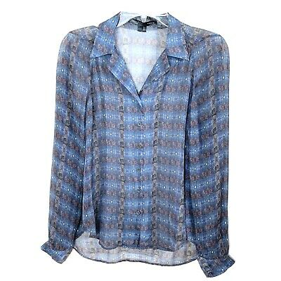 Theyskens Theory Womens Silk Long Sleeve Button Front Sheer Print Blouse Size S