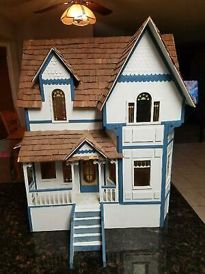 Vintage Handmade Victorian Dollhouse And Furniture