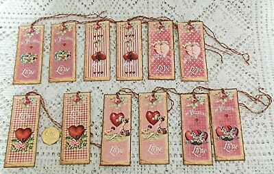 8~Valentine/'s Day~French Ephemera~Fussy Cut~Linen Cardstock~Gift~Hang~Tags~Ornie