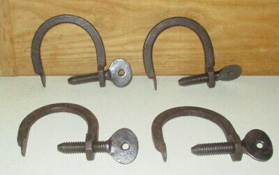 4 Antique Blacksmith Made Hand Forged Wrought Iron Clamps