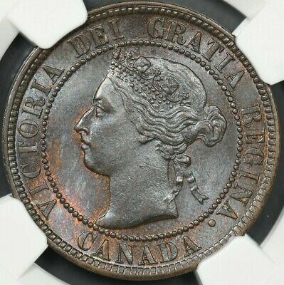 1899 Ngc Ms63Bn Canada Large Cent Blue Toned