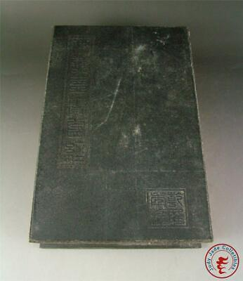 Large Old Chinese Spinach Nephrite Jade Inlaid Ancient Book Calligraphy Buddhism