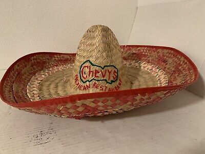 Chevy's Mexican Restaurant Sombrero Woven Straw Party Hat Authentic Portland Ore