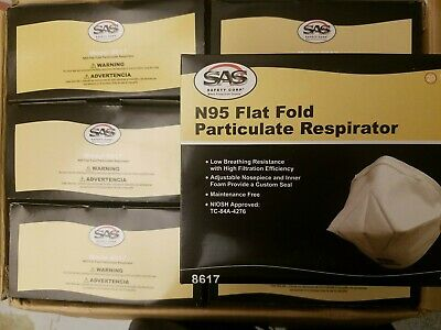 1 case 240 N95 masks SAS 8617 NIOSH Flat Fold Particulate Respirator Dust Masks
