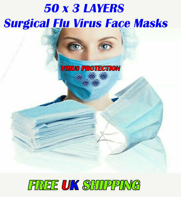 50 x 3 LAYERS Surgical Flu Virus Face Mask Strip Surgical Medical High Quality