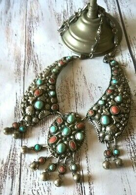Amazing Antique Silver Ethnic Tribal Egyptian Necklace with Turquoise & Coral