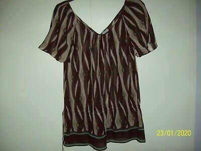 SALE Ladies 2123 Cream sequined top with chiffon sleeves By unbranded  £7.50