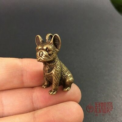 Chinese Old Copper Hand Solid Carved lovely dog Statue Netsuke Pendant