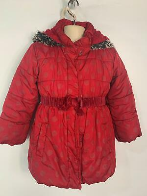 Girls Marks&Spencer Red Casual Winter School Zip Padded Rain Coat Size 6/7 Years