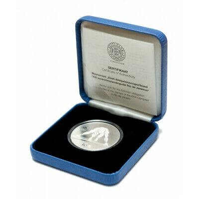"""Swimming/"""" Silver PROOF Lithuania 20 euro 2016 /""""XXXI Olympic Games"""
