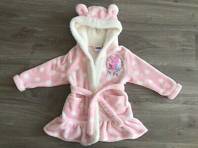 Baby Girls Peppa Pig Pink Frill Dressing Gown with hood. Size 12-18 months