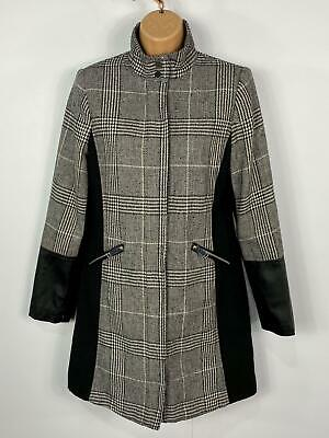 Womens Primark Black & White Check Zip Smart Winter Over Coat Jacket Size Uk 6