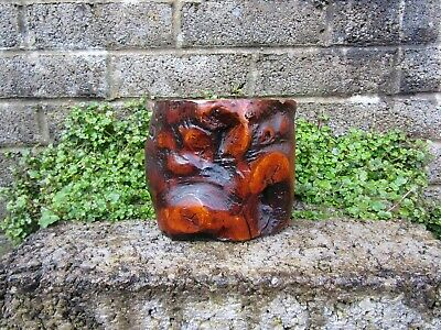 Antique Chinese gnarled solid wood brush pot - heavy natural genuine antique