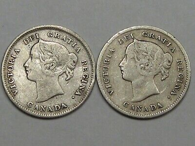 2 Silver Canadian 5 Cent Coins: 1896 & 1898. Queen Victoria. CANADA.  #4