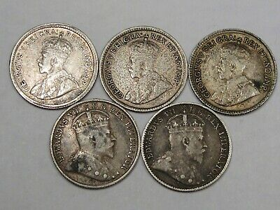 5 Silver Canadian Five Cent Coins: 1903, 1910, 1918, 1919 & 1920.  #36