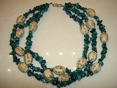 Antique VTG Chinese Malachite Nugget Painted Porcelain Bead 3 Strand Necklace