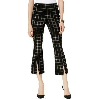 INC Womens Black Window Pane Flare High-Rise Cropped Pants 14 BHFO 9468