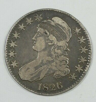 1826 Capped Bust/Lettered Edge Half Dollar VERY FINE Silver 50-Cents