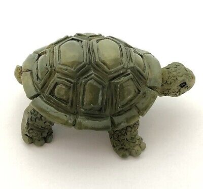 """GANZ Small Stone Wise Little Turtle Figurine Real Life Look Green """"Peace"""" w/Card"""