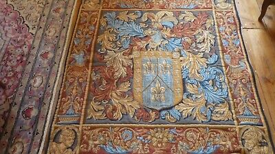 Tapisserie Ancienne Des Flandres 19 Eme Armoiries Old Tapestry  With Arms 19 Th