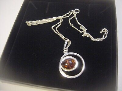 Solid Silver Curb Chain &Fabulous Unusual Swirly Real Genuine Amber  Pendent 16""