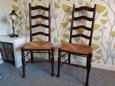 Pair of Arts and Crafts Rush Seated Chairs