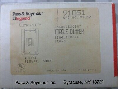 Pass & Seymour / Legrand 91051 Toggle Dimmer, Brown **Free Shipping*