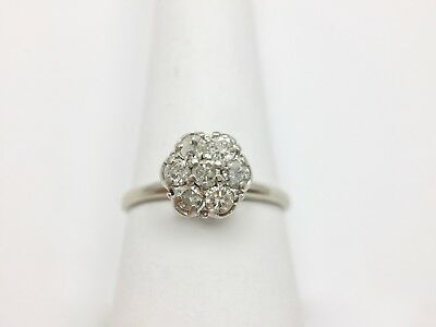 1/2ct Diamond Daisy Cluster Engagement Wedding Ring Size 8 1/4 White Gold 14k