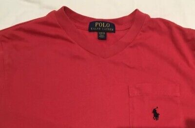 polo ralph lauren Boys Dark Pink Cotton V Neck T Shirt Age 10-12 M