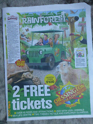 2 Free Chessington Tickets.10 Sun Savers Tokens + Booking Form Needed To Apply
