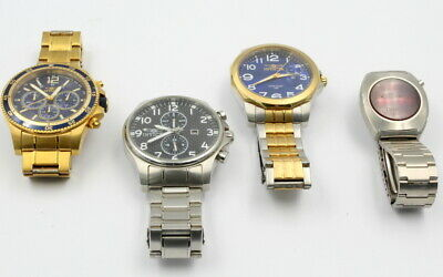 Lot Of 4 Invicta Mens Wrist Watches With Large Small Case Parts Nr # 7372-3