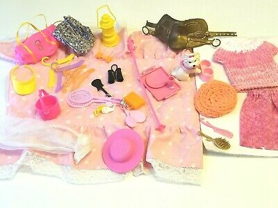 Lot of Barbie Accessories and Hats Shoes Quilt Puppy Saddle Hangers Bags EUC