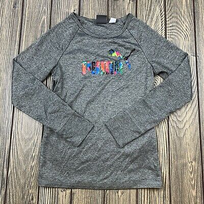 puma youth girls size 6X athletic long sleeve shirt gray