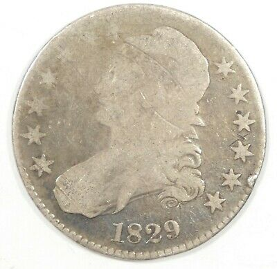 BARGAIN 1829 Capped Bust/Lettered Edge Half Dollar GOOD Silver 50-Cents