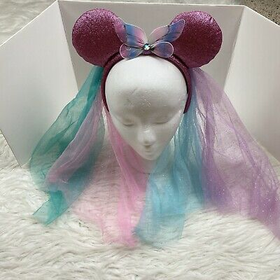 Disney Parks Minnie Mouse Ears Headband Butterfly Veil Glittery Pink Turquoise