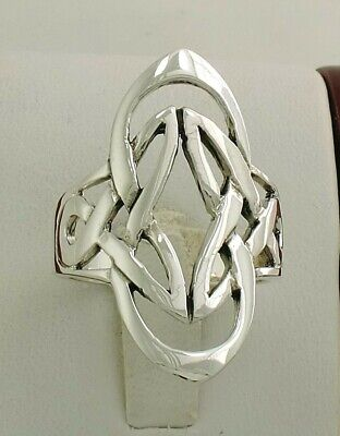 LONG .925 STERLING SILVER CELTIC KNOT RING size 7  style# r2056