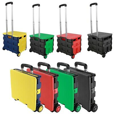 Folding Boot Cart Shopping Trolley Fold Up Storage Box Wheels Crate & Lid Handle