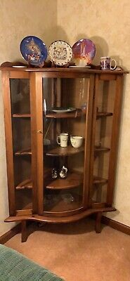 Antique Curved Glass Corner China Cabinet