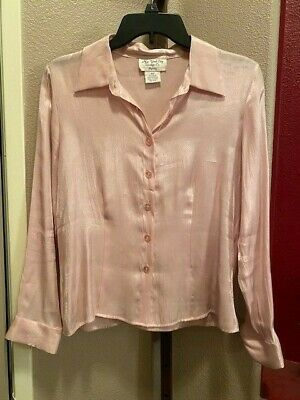New York City Design Co. Petite VTG Women's Sz PM Button Down Shimmer Fitted Top