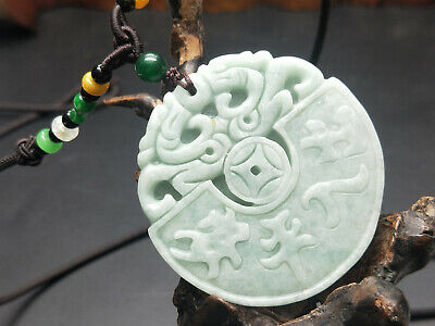 100% Chinese Hand-carved Delicate and natural Jadeite jade Two dragons pendant 8