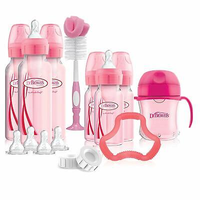 Dr. Brown's Options+ Baby Bottles Pink Gift Set with Silicone Teether, Pink