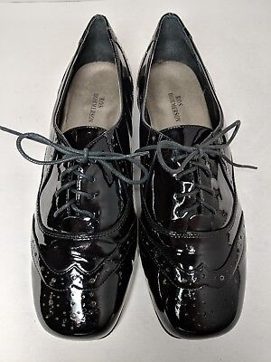 Ros Hommerson Womens Black Patent Leather Brogue Wing Tip Lace Up Oxfords 9 W