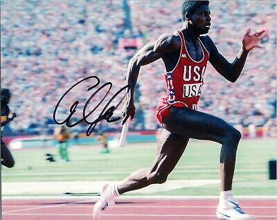 """~~ CARL LEWIS Authentic Hand-Signed """"1984 GOLD MEDAL USA OLYMPICS"""" 8x10 photo C~"""