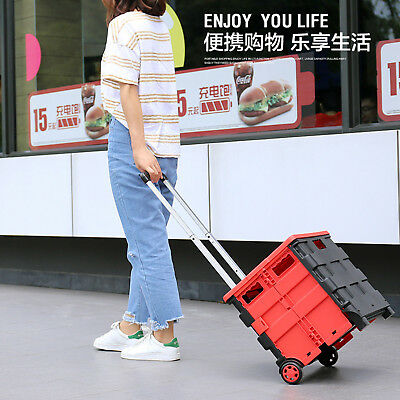 Folding Boot Cart Shopping Trolley Pull Handle Rolling Storage Box with cover