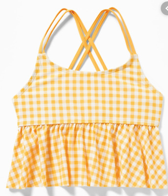 NEW Old Navy Yellow White Gingham Plaid Peplum Tankini Swim Top Girls XL 14 16