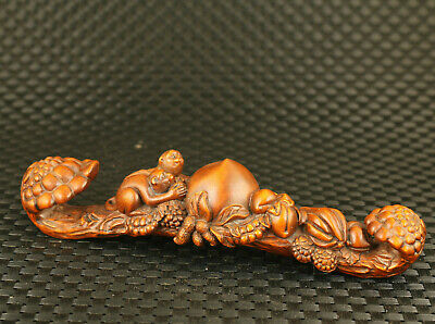 old chinese boxwood hand carved pair monkey flat peach statue collect decorate