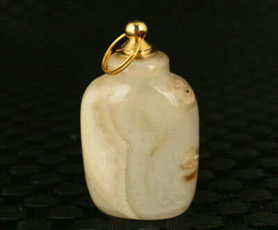 chinese agate jade hand polished snuff bottle pendant collectable copper lid