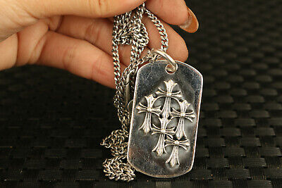 100% 925 Silver hand caved cross flower statue pendant netsuke collectable gift